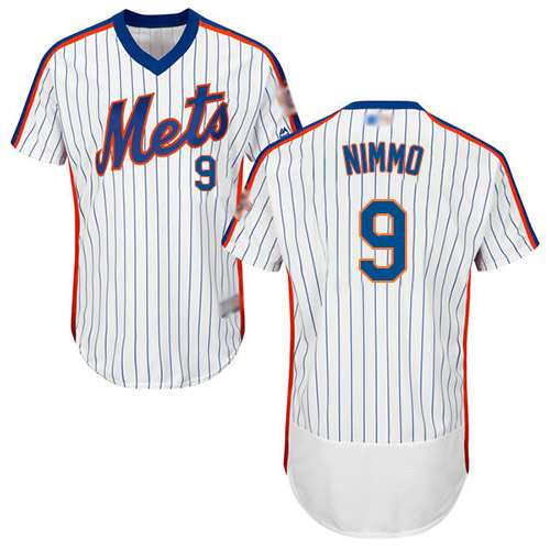 Mets #9 Brandon Nimmo White(Blue Strip) Flexbase Authentic Collection Alternate Stitched Baseball Jersey