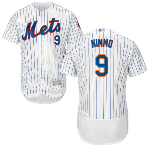 Mets #9 Brandon Nimmo White(Blue Strip) Flexbase Authentic Collection Stitched Baseball Jersey