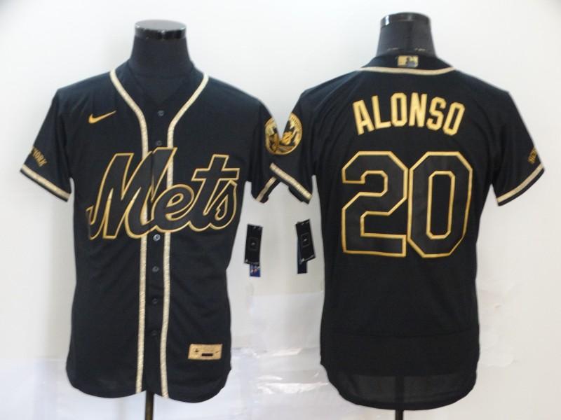 Mets 20 Pete Alonso Black Gold 2020 Nike Flexbase Jersey