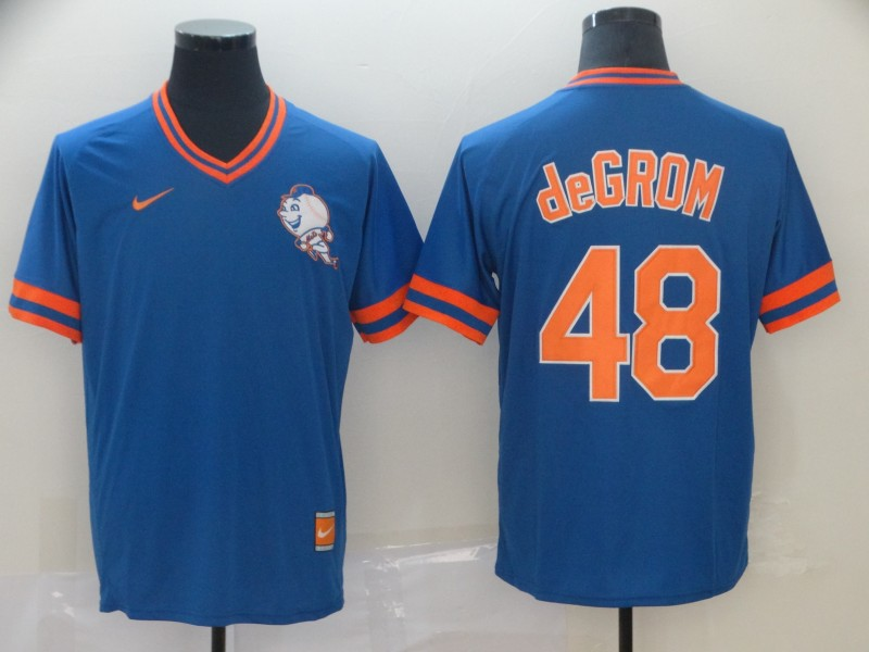Mets 48 Jacob DeGrom Royal Throwback Jersey