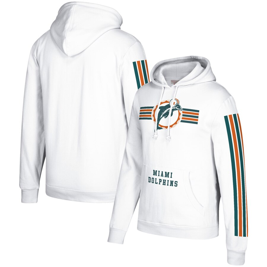 Miami Dolphins Mitchell & Ness Three Stripe Pullover Hoodie White