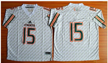 Miami Hurricanes #15 Brad Kaaya White Stitched NCAA Jerseys