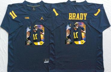 Michigan Wolverines 10 Tom Brady Navy Portrait Number College Jersey