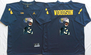Michigan Wolverines 2 Charles Woodson Navy Portrait Number College Jersey