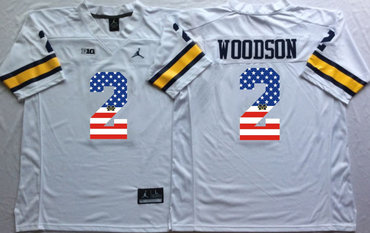 Michigan Wolverines 2 Charles Woodson White USA Flag College Jersey