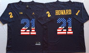 Michigan Wolverines 21 Desmond Howard Navy White USA Flag College Jersey