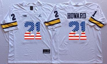 Michigan Wolverines 21 Desmond Howard White USA Flag College Jersey