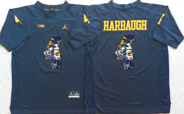 Michigan Wolverines 4 Jim Harbaugh Navy Portrait Number College Jersey