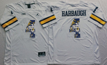 Michigan Wolverines 4 Jim Harbaugh White Portrait Number College Jersey