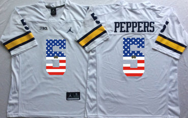 Michigan Wolverines 5 Jabrill Peppers White USA Flag College Jersey