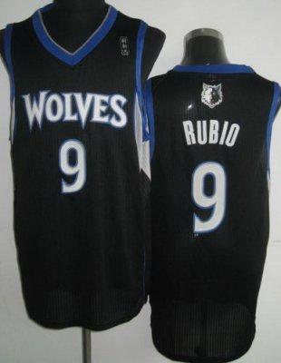 Minnesota Timberwolves 9 Ricky Rubio Black Revolution 30 NBA Jerseys