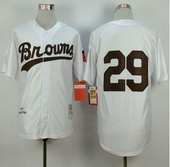 Mitchell and Ness 1953 St. Louis Browns #29 Satchel Paige White Throwback Stitched Baseball Jersey