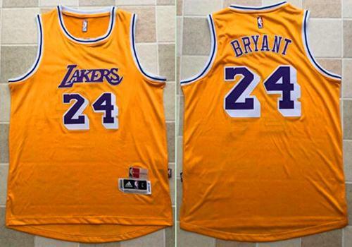 save off eeb10 78142 Mitchell and Ness Lakers #24 Kobe Bryant Yellow Stitched ...
