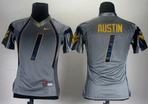 Mountaineers #1 Tavon Austin Grey Women's Stitched NCAA Jersey