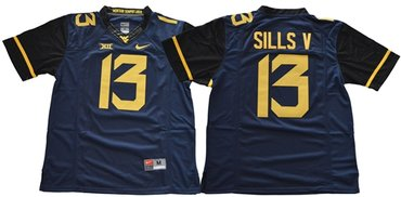 Mountaineers #13 David Sills V Navy Blue Limited Stitched NCAA Jersey