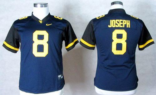 Mountaineers #8 Karl Joseph Navy Blue Women's Stitched NCAA Jersey