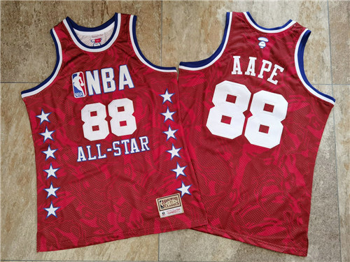NBA 88 AAPE All Star Red Hardwood Classics Jersey