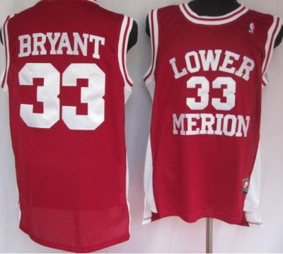 NBA NCAA Lower Merion 33# Kobe Bryant Red Jersey