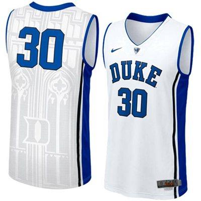 NEW Duke Blue Devils #30 Men's Swingman Aerographic Elite Basketball Jersey - White