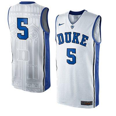 NEW Duke Blue Devils #5 Authentic Elite Basketball Jersey - White