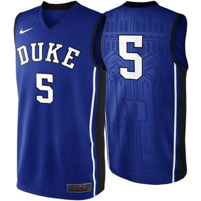 NEW Duke Blue Devils #5 Elite Replica Basketball Jersey - Duke Blue