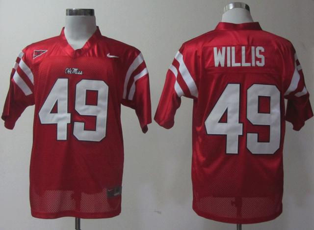 NEW Ole Miss Rebels Patrick Willis 49 Red College Football Jerseys