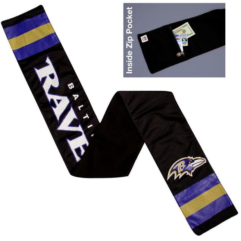 NFL Baltimore Ravens Jersey Scarf With Zip Pocket