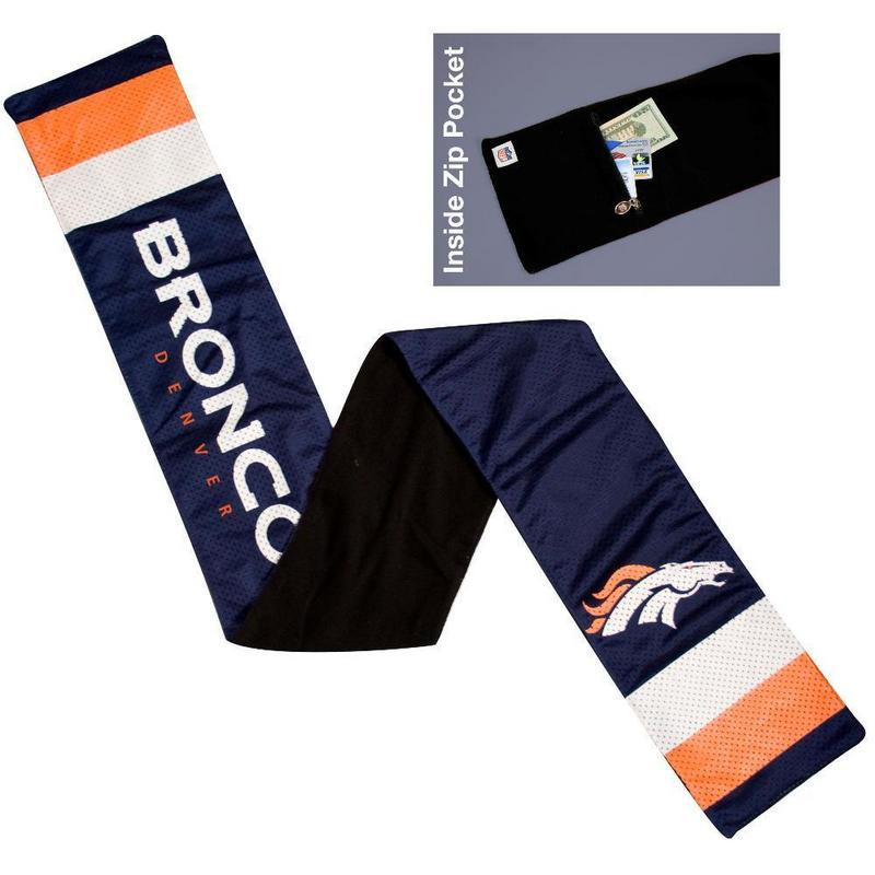 NFL Denver Broncos Jersey Scarf With Zip Pocket