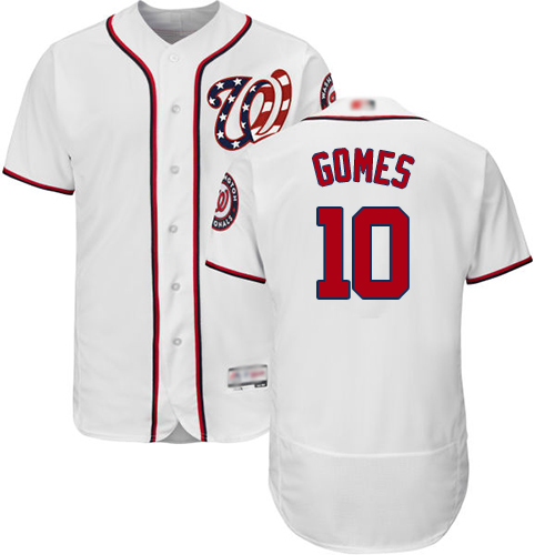 Nationals #10 Yan Gomes White Flexbase Authentic Collection Stitched Baseball Jersey