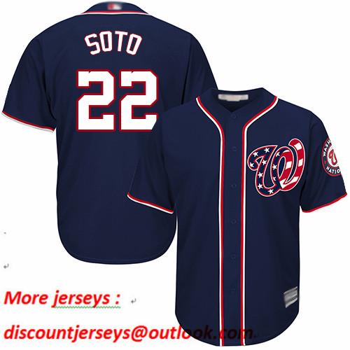 Nationals #22 Juan Soto Navy Blue New Cool Base Stitched Baseball Jersey