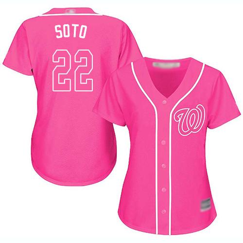 Nationals #22 Juan Soto Pink Fashion Women's Stitched Baseball Jersey