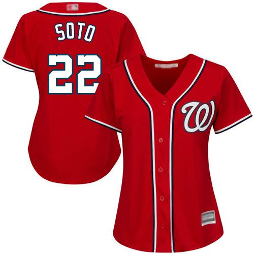 Nationals #22 Juan Soto Red Alternate Women's Stitched Baseball Jersey