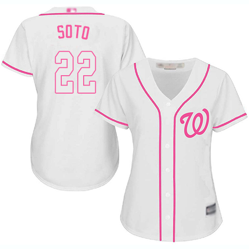 Nationals #22 Juan Soto White Pink Fashion Women's Stitched Baseball Jersey