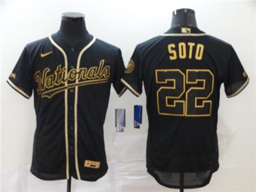Nationals 22 Juan Soto Black Gold 2020 Nike Flexbase Jersey