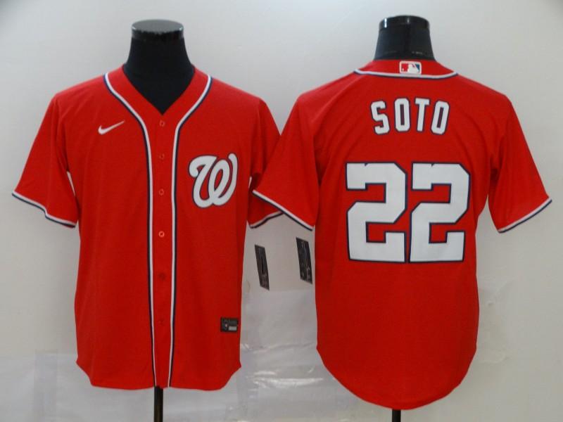 Nationals 22 Juan Soto Red Nike 2020 Cool Base Jersey