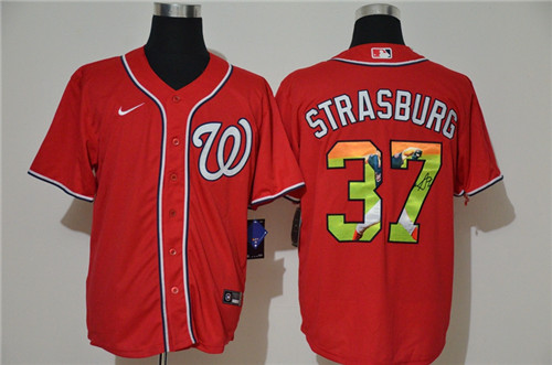Nationals 37 Stephen Strasburg Red Nike Cool Base Player Jersey