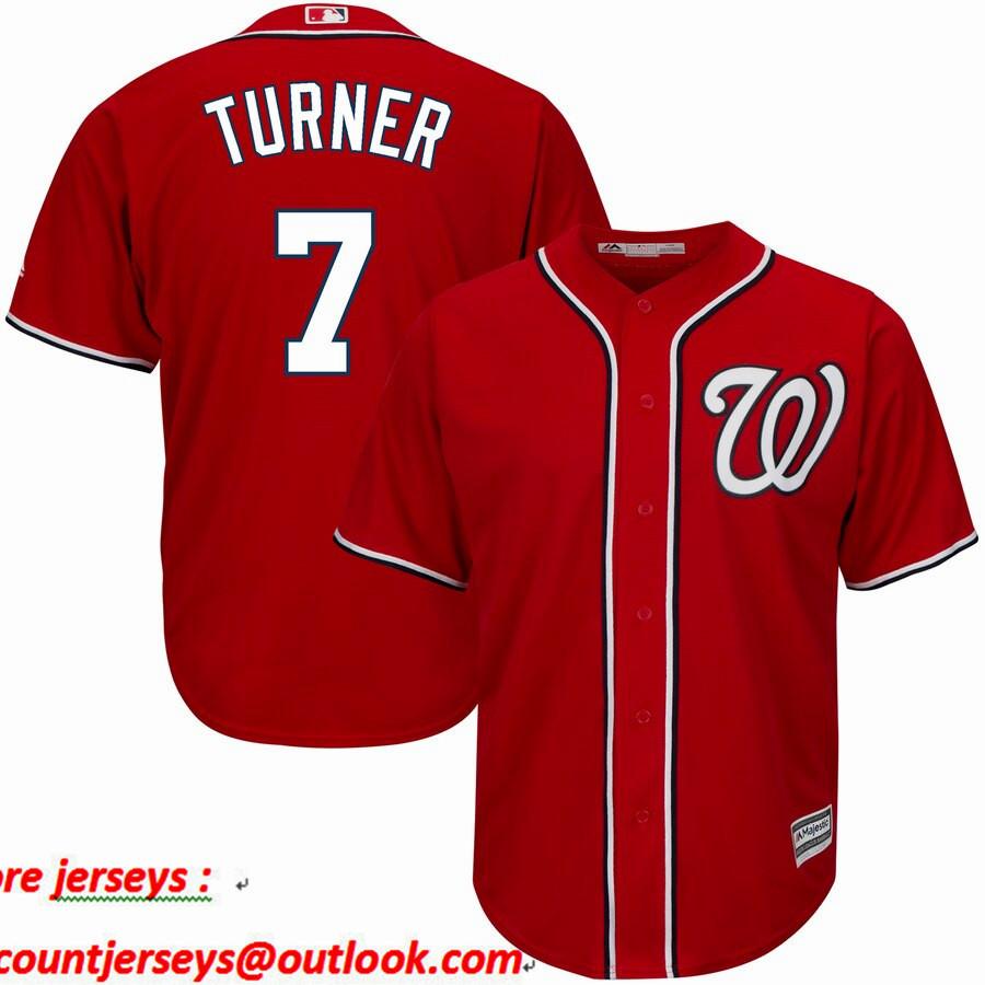 Nationals 7 Trea Turner Red Cool Base Jersey