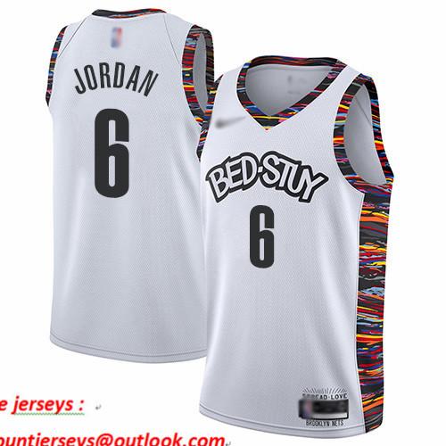 Nets #6 DeAndre Jordan White Basketball Swingman City Edition 2019 20 Jersey