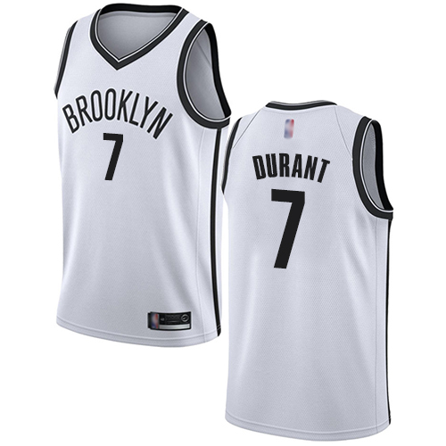 Nets #7 Kevin Durant White Basketball Swingman Association Edition Jersey