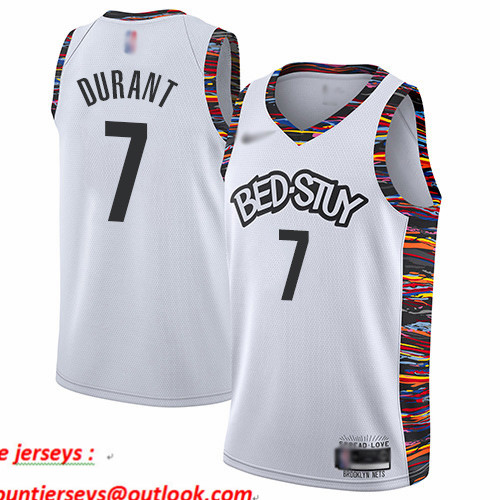 Nets #7 Kevin Durant White Basketball Swingman City Edition 2019 20 Jersey