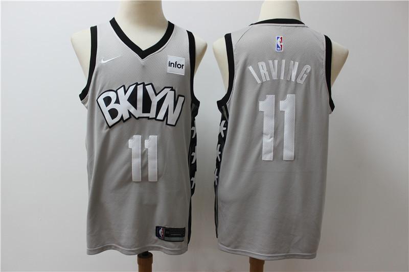 Nets 11 Kyrie Irving Gray Nike Swingman Jersey