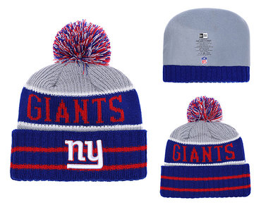 New York Giants Royal Banner Block Cuffed Knit Hat With Pom YD