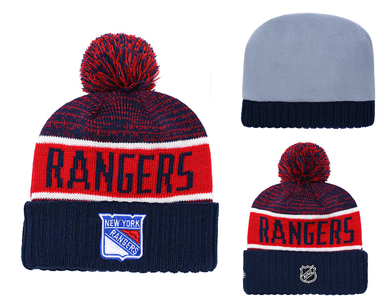 New York Rangers Fresh Logo Navy Red Pom Knit Hat YD