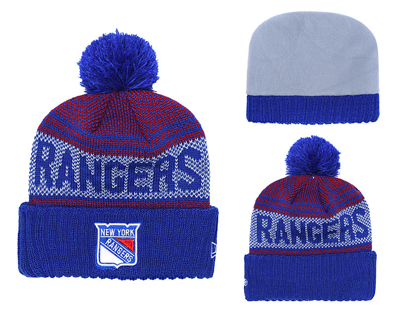 New York Rangers Team Logo Royal Red Pom Knit Hat YD