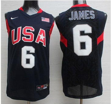 Nike 2008 Team USA #6 LeBron James Dark Blue Stitched NBA Jersey