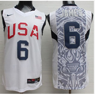 Nike 2008 Team USA #6 LeBron James White Stitched NBA Jersey