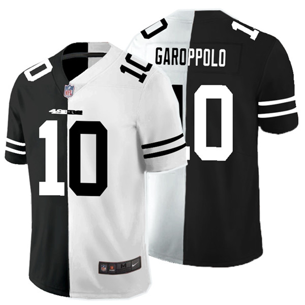 Nike 49ers 10 Jimmy Garoppolo Black And White Split Vapor Untouchable Limited Jersey