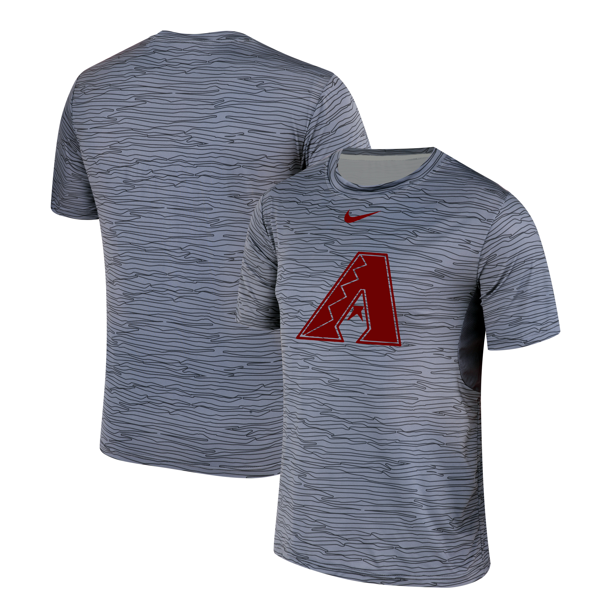 Nike Arizona Diamondbacks Crimson Gray Black Striped Logo Performance T-Shirt