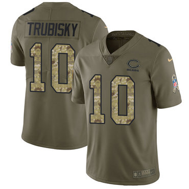 Nike Bears #10 Mitchell Trubisky Olive Camo Men's Stitched NFL Limited 2017 Salute To Service Jersey