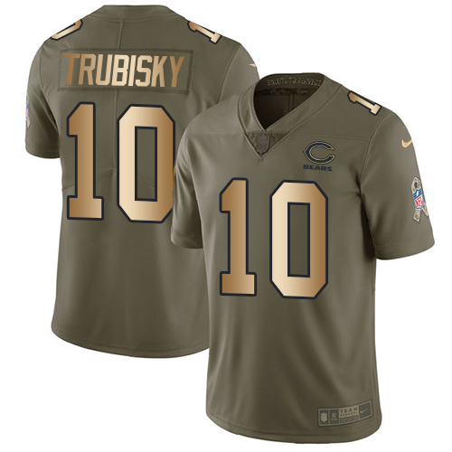 Nike Bears #10 Mitchell Trubisky Olive Gold Men's Stitched NFL Limited 2017 Salute To Service Jersey